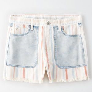 American Eagle Flag Stripe Denim Mom Shorts
